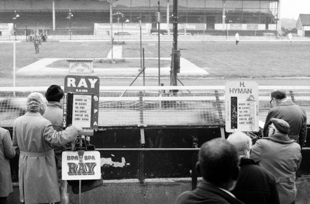 The bookmaker's in front of the main stand