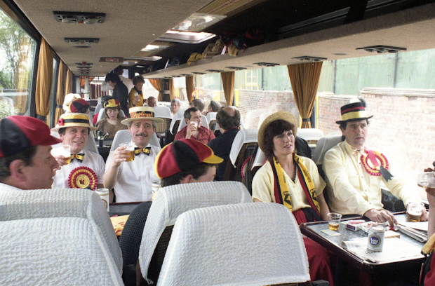 Watford fans on board the supporters coach