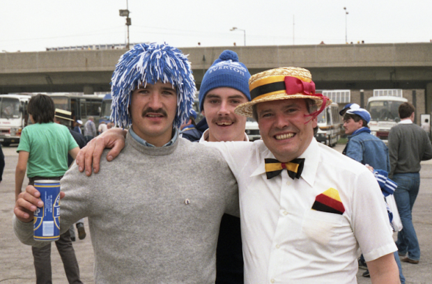 Watford fan Kev 'Boy' with his Everton friends outside the old Wembley Stadium