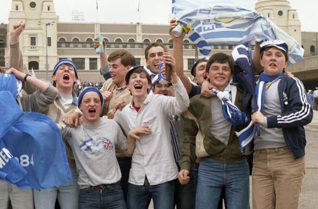 Everton fans in front of Wembley's twin towers - In their 40s now!